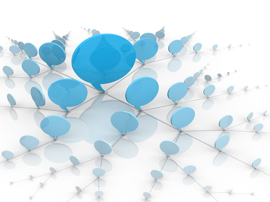 Social Network Blue Talking Bubbles Or Balloons