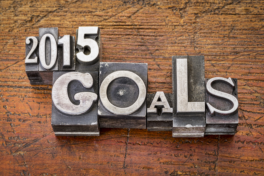 2015 goals - New Year resolution concept - text in vintage metal