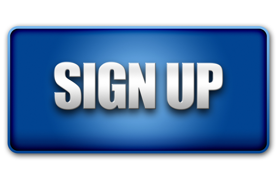 Sign Up 3D Blue Button On White Background