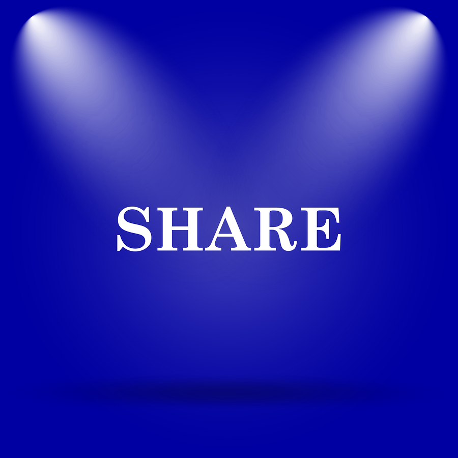 Share icon. Flat icon on blue background.