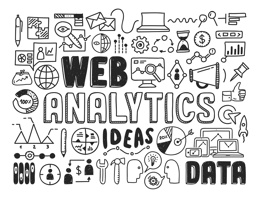 Hand drawn vector illustration icons set of web analytics and ideas in optimization of website search information doodles elements. Isolated on white background